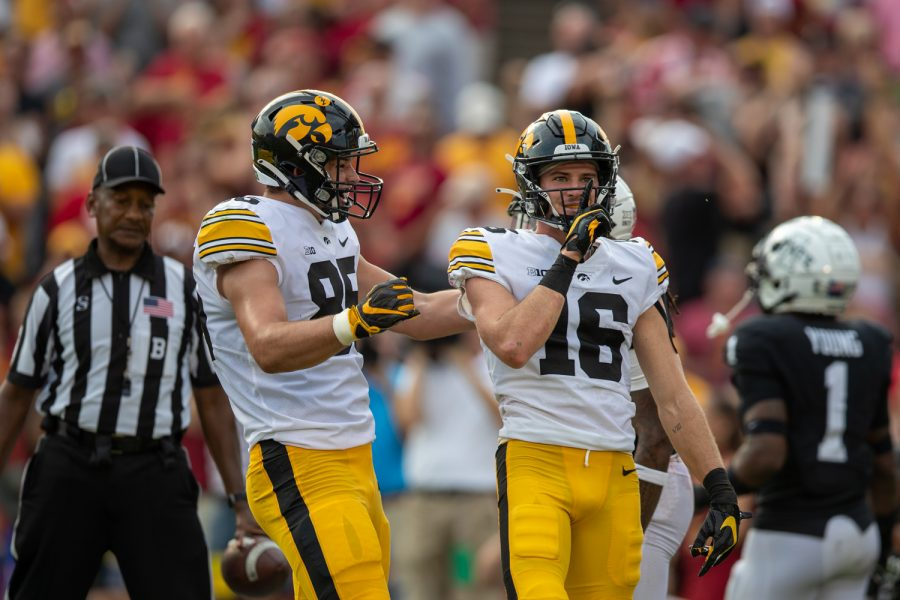 Iowa wide receiver Charlie Jones shushes the crowd after scoring a touchdown during a football game between No. 10 Iowa and No. 9 Iowa State at Jack Trice Stadium in Ames on Saturday, Sept. 11, 2021. The Hawkeyes defeated the Cyclones 27-17.