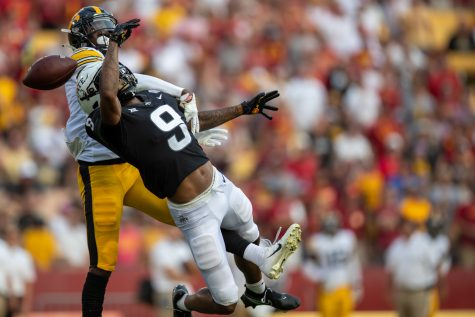 Iowa defensive back Matt Hankins breaks up a pass intended for Iowa State wide receiver Joe Skates during a football game between No. 10 Iowa and No. 9 Iowa State at Jack Trice Stadium in Ames on Saturday, Sept. 11, 2021. The Hawkeyes defeated the Cyclones 27-17.