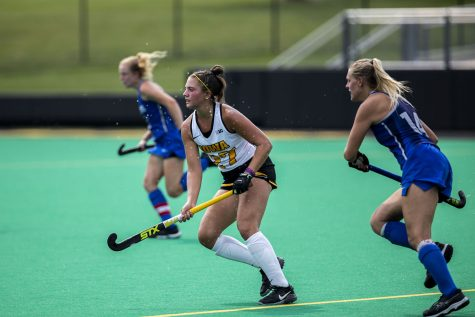 Iowa midfielder Jacey Wittel looks for a pass during the Iowa field hockey game against Saint Louis University on Sunday, Sept. 12, 2021, at Grant Field. The Hawkeyes defeated the Billikens 10-0.