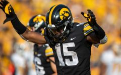 Iowa running back Tyler Goodson celebrates a touchdown during a football game between Iowa and Kent State at Kinnick Stadium on Saturday, Sept. 18, 2021. The Hawkeyes defeated the Golden Flashes 30-7.