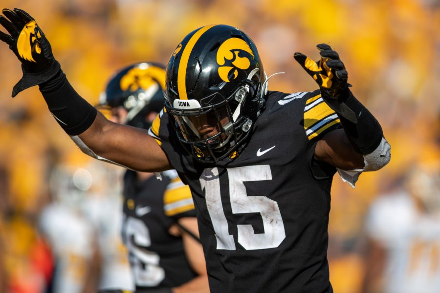 Iowa+running+back+Tyler+Goodson+celebrates+a+touchdown+during+a+football+game+between+Iowa+and+Kent+State+at+Kinnick+Stadium+on+Saturday%2C+Sept.+18%2C+2021.+The+Hawkeyes+defeated+the+Golden+Flashes+30-7.+