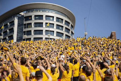 Fans wave to University of Iowa Stead Family Children's Hospital during a football game between Iowa and Kent State at Kinnick Stadium on Saturday, Sept. 18, 2021. The Hawkeyes defeated the Golden Flashes with a score of 30-7.