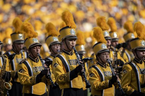 The Iowa marching band performs during halftime of a football game between Iowa and Kent State at Kinnick Stadium on Saturday, Sept. 18, 2021. The Hawkeyes defeated the Golden Flashes with a score of 30-7.