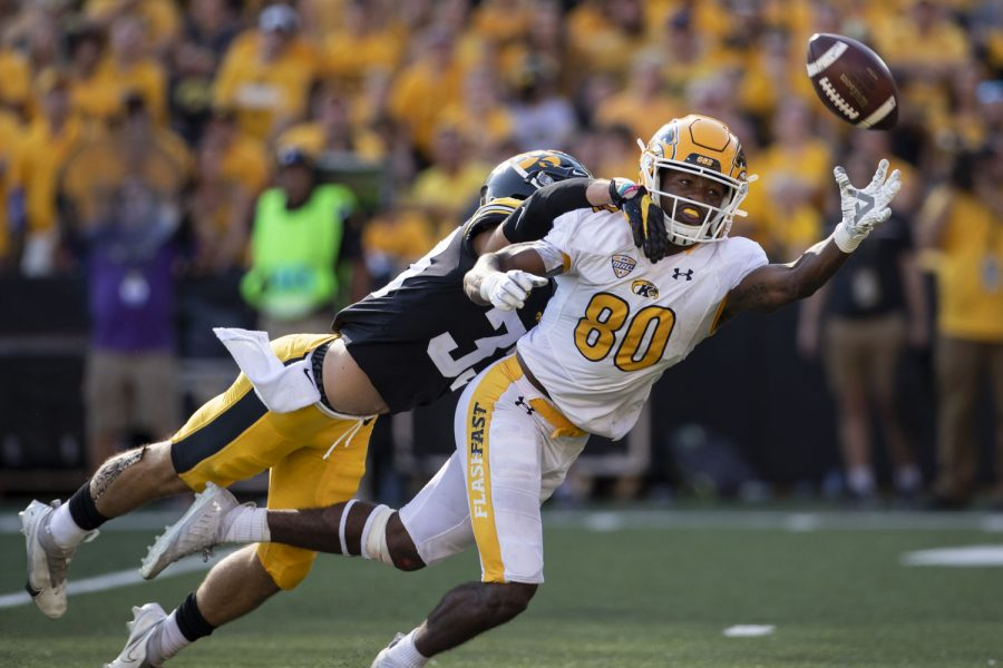 Kent+State+wide+receiver+Keshunn+Abram+attempts+to+catch+a+ball+during+a+football+game+between+Iowa+and+Kent+State+at+Kinnick+Stadium+on+Saturday%2C+Sept.+18%2C+2021.+The+Hawkeyes+defeated+the+Golden+Flashes+with+a+score+of+30-7.+Abram+had+138+yards+and+one+touchdown.+