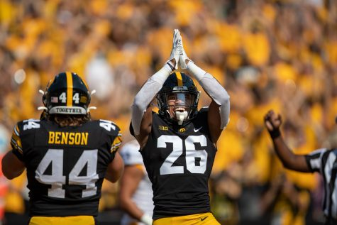 Iowa safety Kaevon Merriweather celebrates a safety during a football game between Iowa and Kent State at Kinnick Stadium on Saturday, Sept. 18, 2021. (Jerod Ringwald/The Daily Iowan)