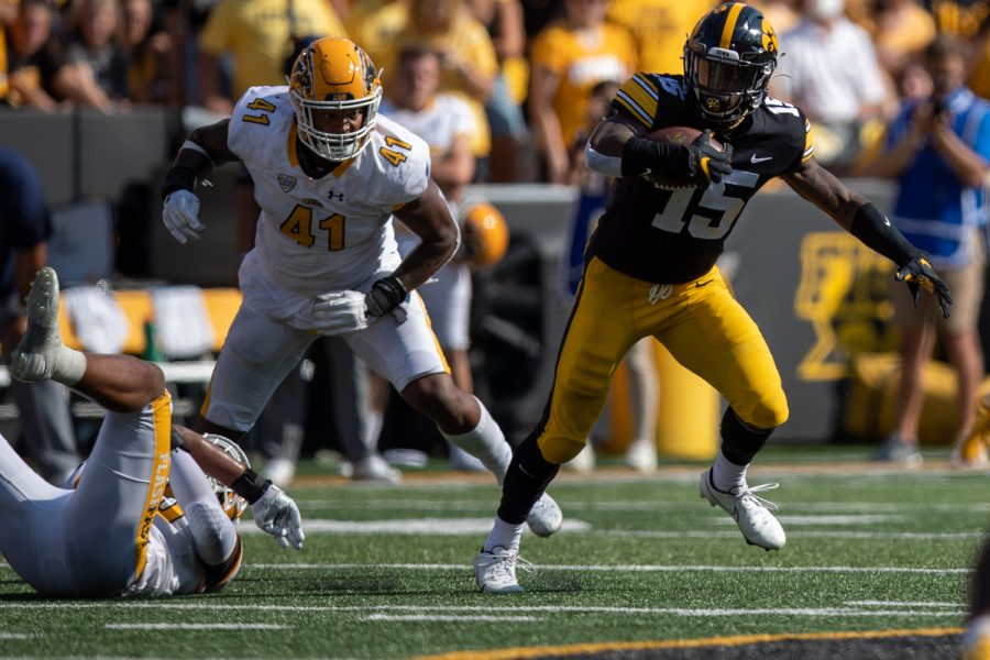 Iowa running back Tyler Goodson breaks free from the backfield during a football game between Iowa and Kent State at Kinnick Stadium on Saturday, Sept. 18, 2021. (Jerod Ringwald/The Daily Iowan)
