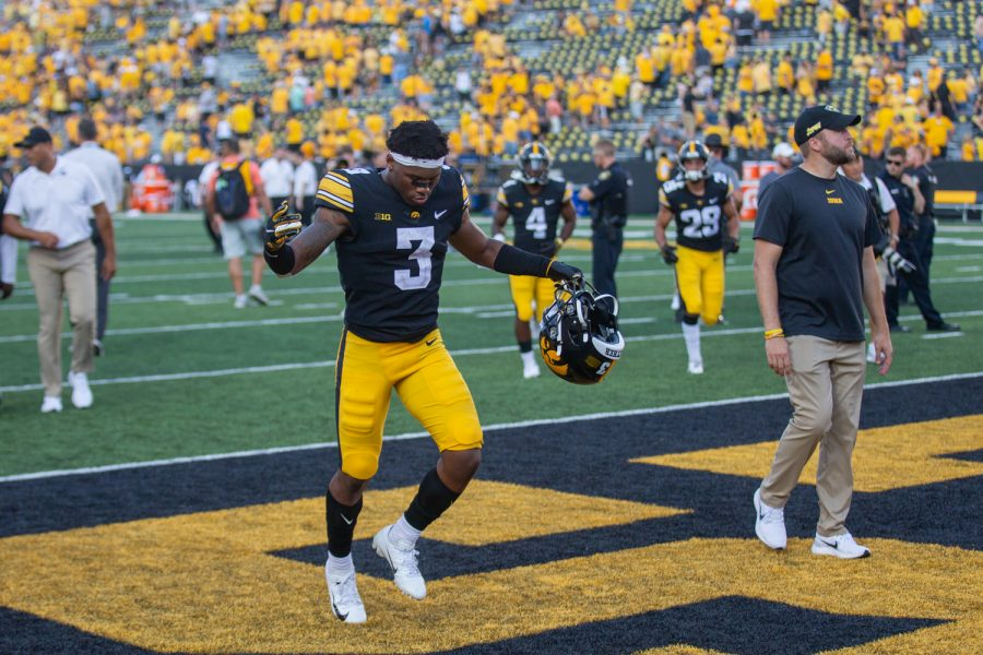Iowa wide receiver Tyrone Tracy Jr. jogs off the field during a football game between Iowa and Kent State at Kinnick Stadium on Saturday, Sept. 18, 2021. The Hawkeyes defeated the Golden Flashes 30-7. (Jerod Ringwald/The Daily Iowan)