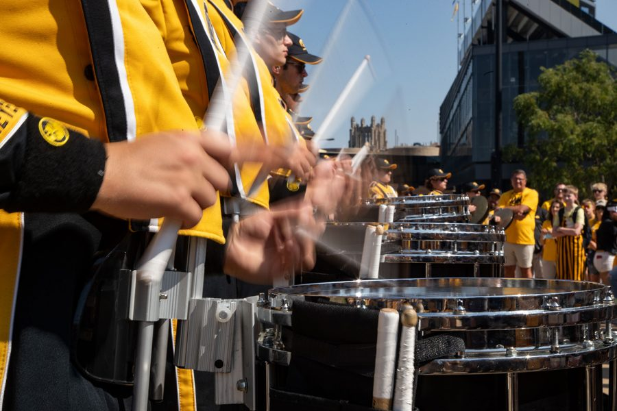 The Iowa Hawkeye drumline plays the snares in Iowa City before a football game between No. 5 Iowa and Kent State on Saturday, Sept. 18, 2021.