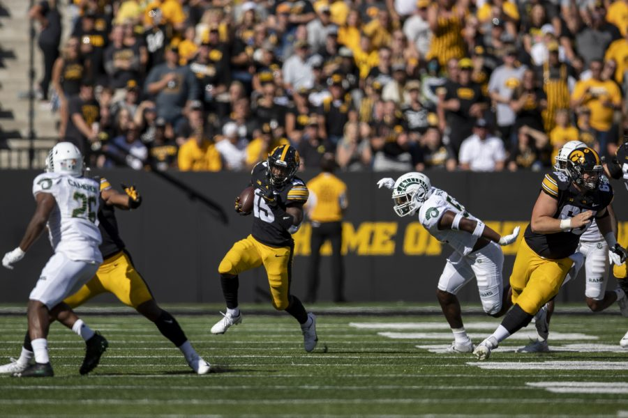 Iowa running back Tyler Goodson finds a gap during a football game between Iowa and Colorado State at Kinnick Stadium on Saturday, Sept. 25, 2021.