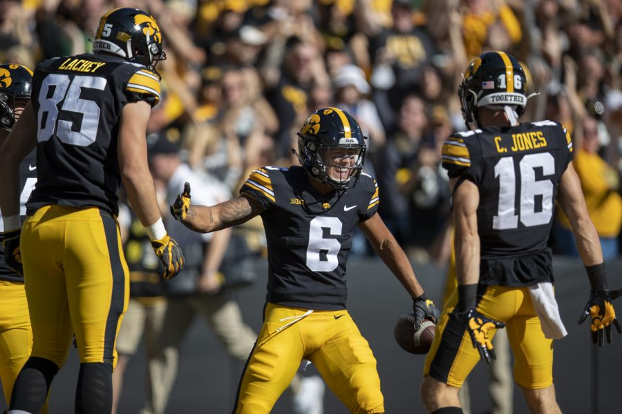 Iowa wide receiver Keagan Johnson celebrates a touchdown during a football game between Iowa and Colorado State at Kinnick Stadium on Saturday, Sept. 25, 2021. (Jerod Ringwald/The Daily Iowan)