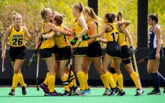 Iowa celebrates a goal during the first quarter of a field hockey game between Iowa and Penn State on Sunday, Sept. 26, 2021, at Grant Field. The Hawkeyes defeated the Nittany Lions 4-0.