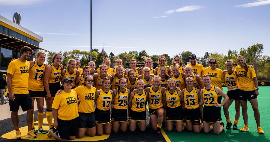 Iowa poses for a team photo after a field hockey game between Iowa and Penn State on Sunday, Sept. 26, 2021, at Grant Field. The Hawkeyes defeated the Nittany Lions 4-0.