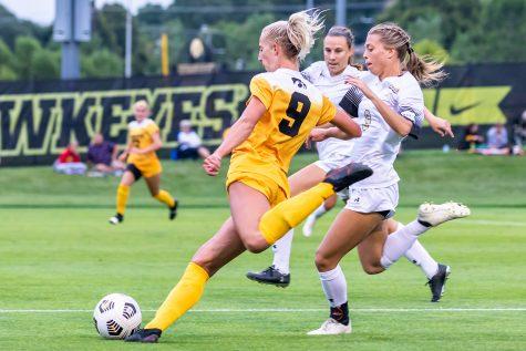 Iowa defender Samantha Cary kicks the ball during the Iowa Soccer game against Purdue-Fort Wayne on Sep. 2, 2021 at the Iowa Soccer Complex. Iowa defeated Purdue-Fort Wayne 5-0.