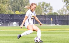 Iowa defender Sara Wheaton goes to kick the ball during the Iowa Soccer game against Southeast Missouri State on Sep. 12, 2021 at the Iowa Soccer Complex. Iowa defeated Southeast Missouri 2-0.