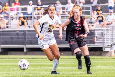 Iowa midfielder Alyssa Kellar runs after the ball in attempt to gain possession during the Iowa Soccer game against Southeast Missouri State on Sep. 12, 2021 at the Iowa Soccer Complex. Iowa defeated Southeast Missouri 2-0.