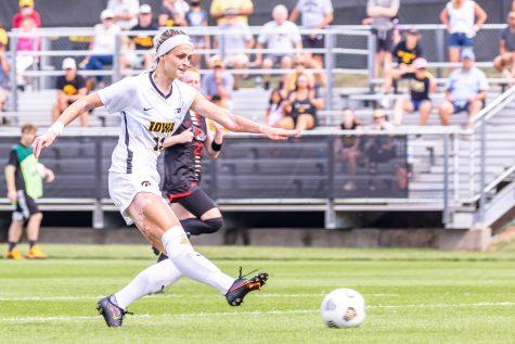 Iowa forward Alyssa Walker kicks the ball during the Iowa Soccer game against Southeast Missouri State on Sep. 12, 2021 at the Iowa Soccer Complex. Iowa defeated Southeast Missouri 2-0.