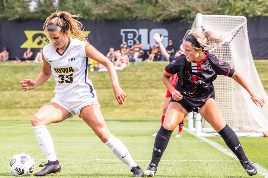 Iowa defender Riley Burns maintains possession of the ball during the Iowa Soccer game against Southeast Missouri State on Sep. 12, 2021 at the Iowa Soccer Complex. Iowa defeated Southeast Missouri 2-0.