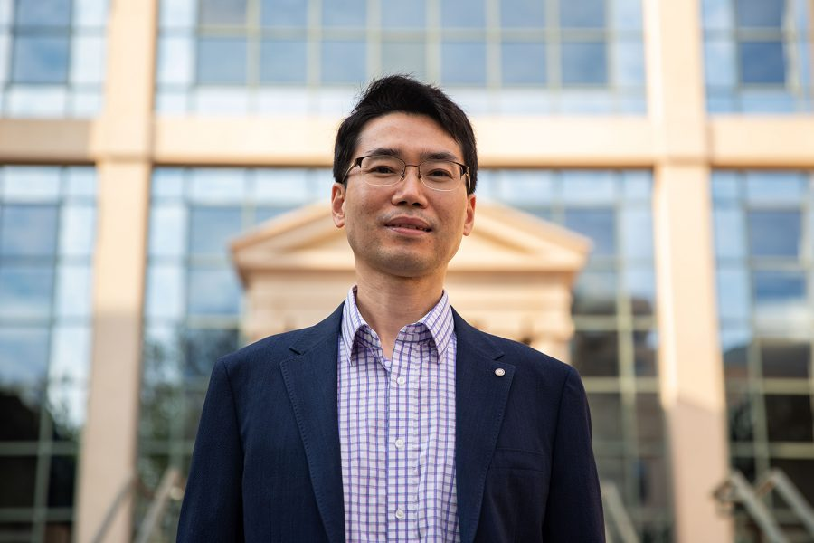 University of Iowa business professor Suyong Song poses for a portrait outside the Pappajohn Business Building on Monday, Sept. 13, 2021.