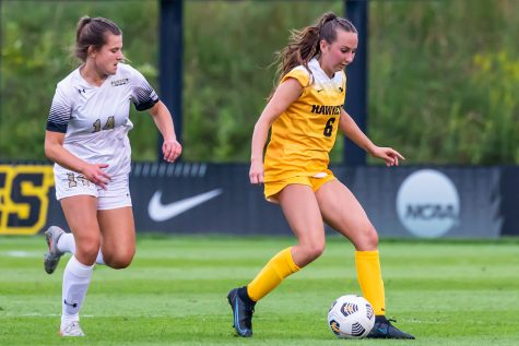 Iowa midfielder Rielee Fetty dribbles the ball during the Iowa Soccer game against Purdue-Fort Wayne on Sep. 2, 2021 at the Iowa Soccer Complex. Iowa defeated Purdue-Fort Wayne 5-0.