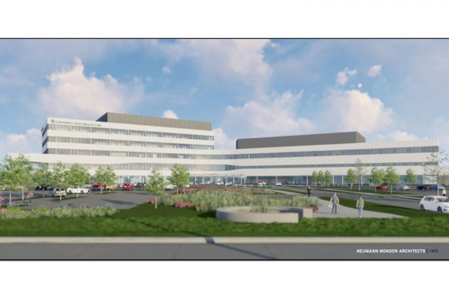 A schematic of the planned UIHC facility in North Liberty is seen. The state Board of Regents approved the project on Tuesday.