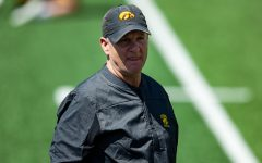 Iowa defensive coordinator Phil Parker watches a drill during a spring practice at Kinnick Stadium on Saturday, May 1, 2021.