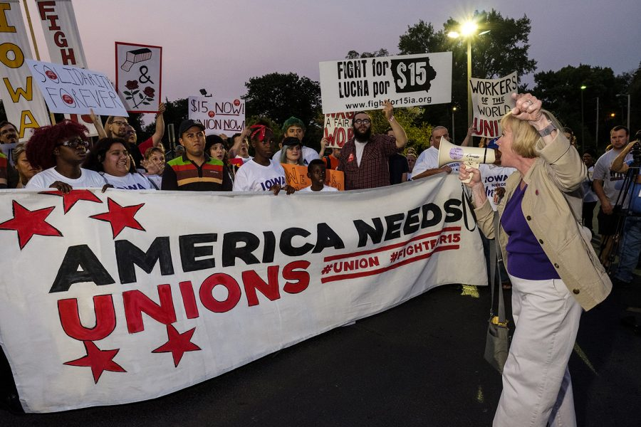 Democratic candidate for Iowa governor Kathy Glasson addresses protestors at a demonstration outside of a Burger King in Des Moines on Monday September, 4 2017. Protestors attended multiple events Des Moines on Labor Day in order to demonstrate in support of a fifteen dollar per hour minimum wage and private sector unions.