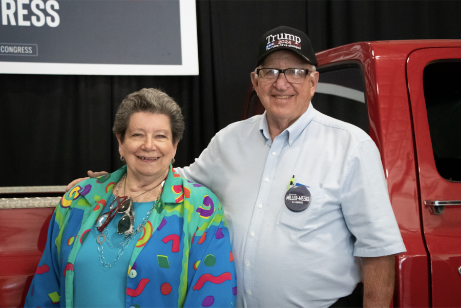 """Wapello County Republicans Chair Trudy Caviness and her husband Keith Caviness have lived in Ottumwa Iowa for 75 years. They frequently have dinner with Rep. Miller-Meeks and her husband. """"The type of person she is, you always knew that she was going to do great things. Shes always had such a core value. She came from a military family. She came from a family that had nothing. She worked her way up with persistence and determination,"""" Trudy said of the Congressperson."""
