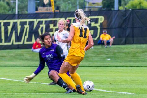 Iowa soccer graduate transfer forward Alyssa Walker fights for the ball against Purdue-Fort Wayne on Thursday, September 2, 2021. Walker scored two goals in the Hawkeyes 5-0 victory over the Mastodons.