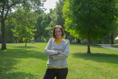 College of Psychiatry professor Ellen Van der Plas poses for a portrait at Willow Creek Park in Iowa City on Fiday, Sept. 17, 2021.