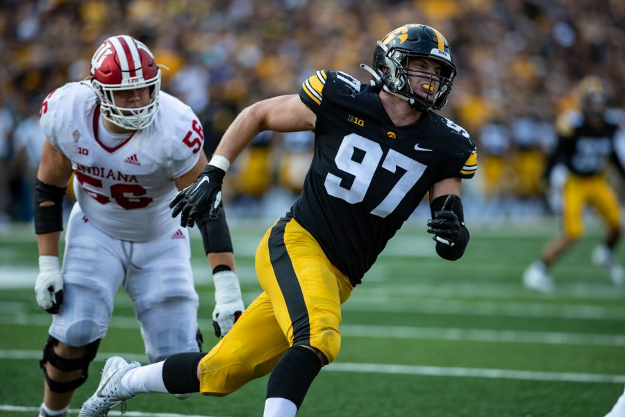 Iowa defensive linemen Zach VanValkenburg rushes the passer during a football game between No. 18 Iowa and No. 17 Indiana at Kinnick Stadium on Saturday, Sept. 4, 2021. The Hawkeyes defeated the Hoosiers 34-6. (Ayrton Breckenridge/The Daily Iowan)