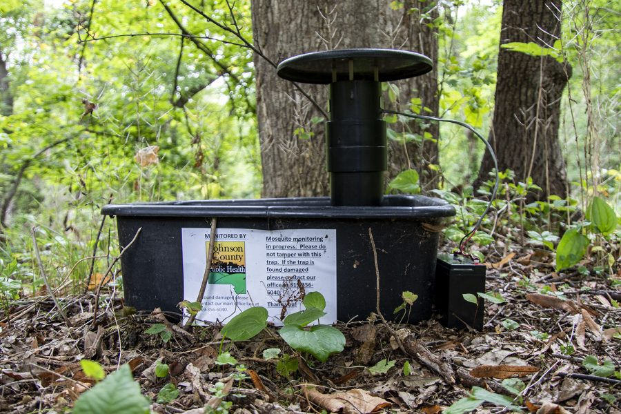 A+mosquito+trap+is+seen+on+Tuesday%2C+Aug.+31%2C+2021.+The+trap%2C+placed+by+Johnson+County+Public+Health+Mosquito+Surveillance+Program%2C+is+located+just+off+a+trail+in+Hickory+Hill+park.+The+park+is+located+at+1439+E+Bloomington+St.