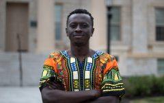 Ebenezer Adeyemi poses for a portrait at the University of Iowa on Saturday, Sept. 4, 2021.