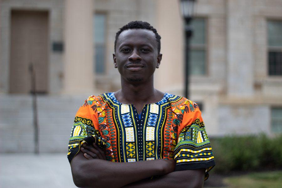 Ebenezer+Adeyemi+poses+for+a+portrait+at+the+University+of+Iowa+on+Saturday%2C+Sept.+4%2C+2021.