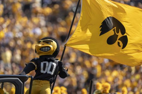 Herky enters the field before a football game between Iowa and Kent State at Kinnick Stadium on Saturday, Sept. 18, 2021.