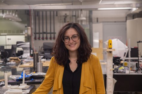 Assistant Professor of Mechanical Engineering Caterina Zamuta poses for a portrait at the Iowa Advanced Technologies Laboratories at the University of Iowa on Monday, Sept. 27, 2021.