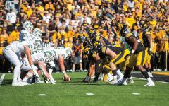 Iowas defense lines up against Colorado States offense during a football game between Iowa and Colorado State at Kinnick Stadium on Saturday, Sept. 25, 2021. The Hawkeyes defeated the Rams 24-14.