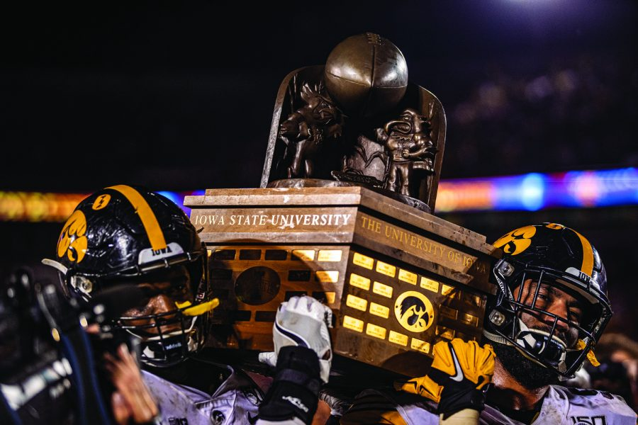 Iowa+players+hoist+the+Cy-Hawk+trophy+during+a+football+game+between+Iowa+and+Iowa+State+at+Jack+Trice+Stadium+in+Ames+on+Saturday%2C+September+14%2C+2019.+The+Hawkeyes+retained+the+Cy-Hawk+Trophy+for+the+fifth+consecutive+year%2C+downing+the+Cyclones%2C+18-17.+