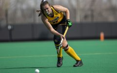 Iowa defender Anthe Nijziel passes the ball during the second quarter of a field hockey game against Maryland on Sunday, April 4, 2021 at Grant Field. The Hawkeyes defeated the Terrapins, 3-0.