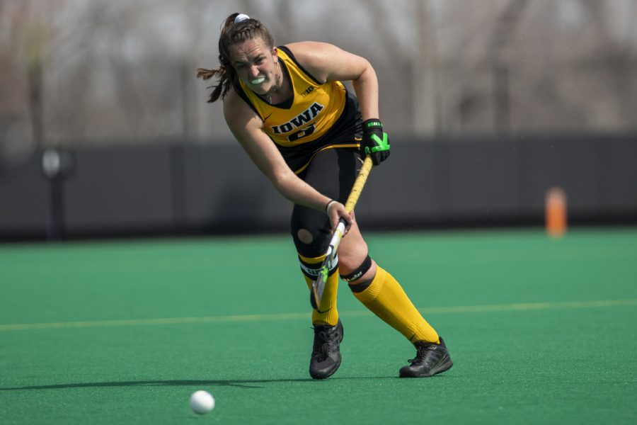 Iowa+defender+Anthe+Nijziel+passes+the+ball+during+the+second+quarter+of+a+field+hockey+game+against+Maryland+on+Sunday%2C+April+4%2C+2021+at+Grant+Field.+The+Hawkeyes+defeated+the+Terrapins%2C+3-0.+