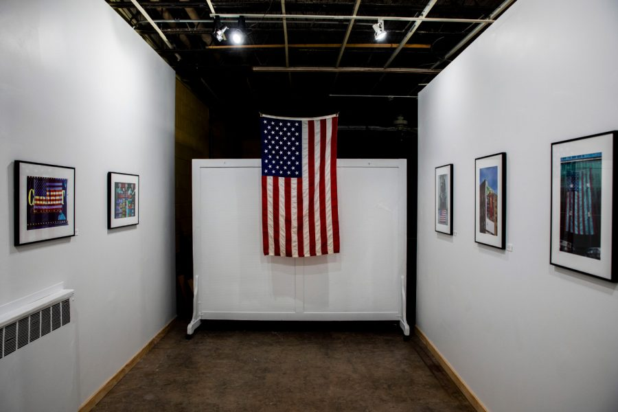 A flag hangs at the entrance to The Flag Project exhibit at the Artifactory in Iowa City on Monday, Sept. 13, 2021.