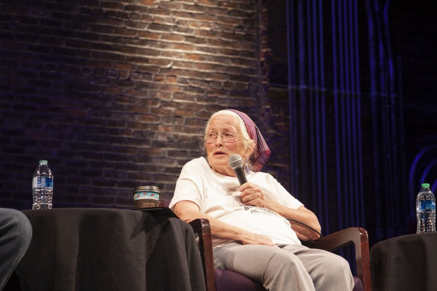 Joan Mulholland looks to the side as she speaks during a film and discussion on the Freedom Riders at The Englert Theatre on Sept. 22 2021.