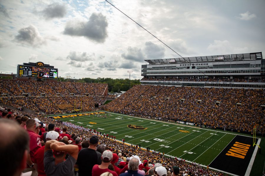 Fans watch a football game between No. 18 Iowa and No. 17 Indiana at Kinnick Stadium on Saturday, Sept. 4, 2021. The Hawkeyes defeated the Hoosiers 34-6. It has been 651 days since fans were allowed into Kinnick.
