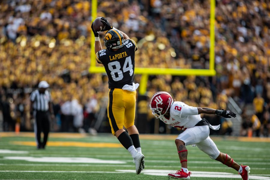 Iowa tight end Sam LaPorta catches the ball during a football game between No. 18 Iowa and No. 17 Indiana at Kinnick Stadium on Saturday, Sept. 4, 2021. The Hawkeyes defeated the Hoosiers 34-6. LaPorta had 83 receiving yards.