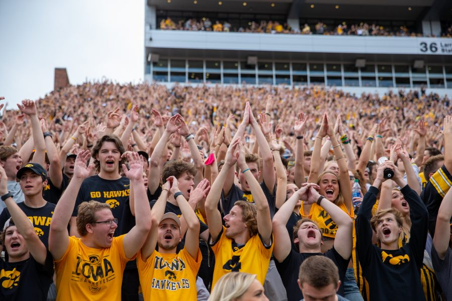 The Iowa student section leads a chant during a football game between No. 18 Iowa and No. 17 Indiana at Kinnick Stadium on Saturday, Sept. 4, 2021. The Hawkeyes defeated the Hoosiers 34-6.