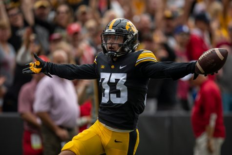 Iowa defensive back Riley Moss returns an interception for a touchdown during a football game between No. 18 Iowa and No. 17 Indiana at Kinnick Stadium on Saturday, Sept. 4, 2021. (Jerod Ringwald/The Daily Iowan)