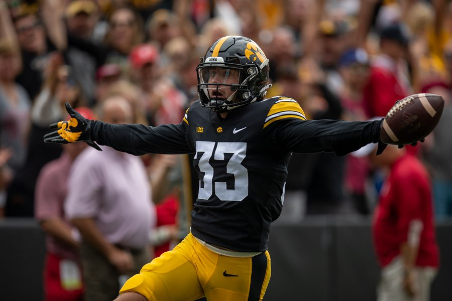 Iowa+defensive+back+Riley+Moss+returns+an+interception+for+a+touchdown+during+a+football+game+between+No.+18+Iowa+and+No.+17+Indiana+at+Kinnick+Stadium+on+Saturday%2C+Sept.+4%2C+2021.+%28Jerod+Ringwald%2FThe+Daily+Iowan%29
