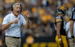Iowa head coach Kirk Ferentz commands his team during a football game between No. 18 Iowa and No. 17 Indiana at Kinnick Stadium on Saturday, Sept. 4, 2021. The Hawkeyes defeated the Hoosiers 34-6.