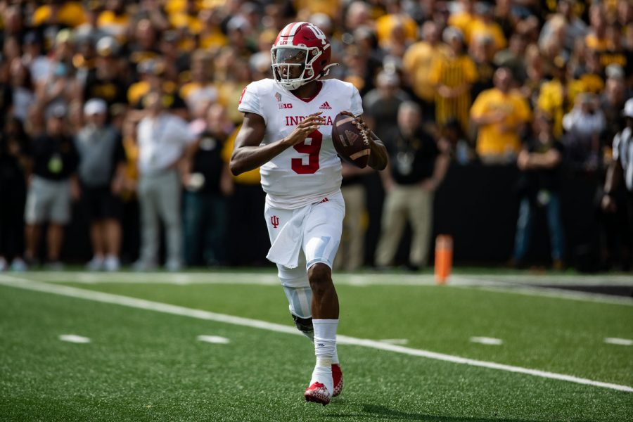 Indiana quarterback Michael Penix Jr. prepares to throw the ball during a football game between No. 18 Iowa and No. 17 Indiana at Kinnick Stadium on Saturday, Sept. 4, 2021. The Hawkeyes defeated the Hoosiers 34-6. Penix threw for 156 yards.
