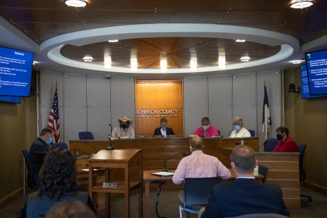 Pat Heiden calls the session to order during the Johnson County Board of Supervisors Work Session on Wednesday, Sept. 15, 2021.