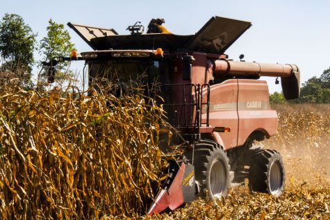 Johnson County farmer Darrell Schulte combining corn on Wednesday, Sept.15,.2021. Schulte began his corn harvest early this year.